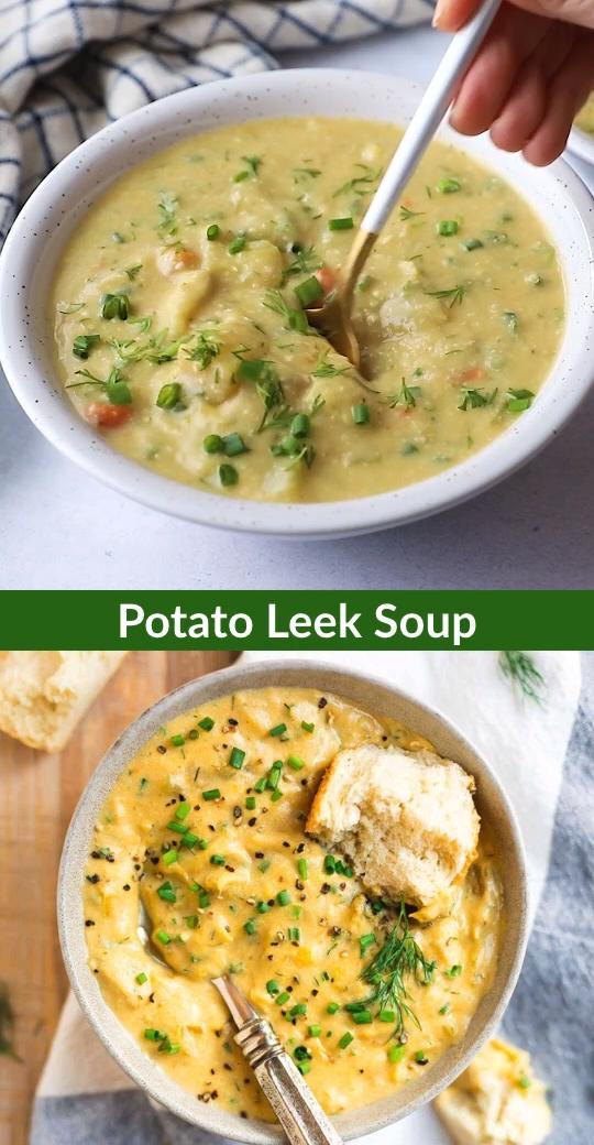 Creamy Potato Leek Soup without cream! Healthy, naturally vegan, and gluten free, it tastes