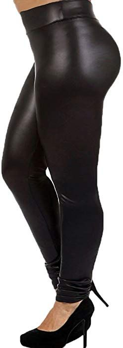 43116adf3077 7th Element Plus Size Faux Leather Leggings Lightweight High Waisted for Womens  Girls (Size 3XL)
