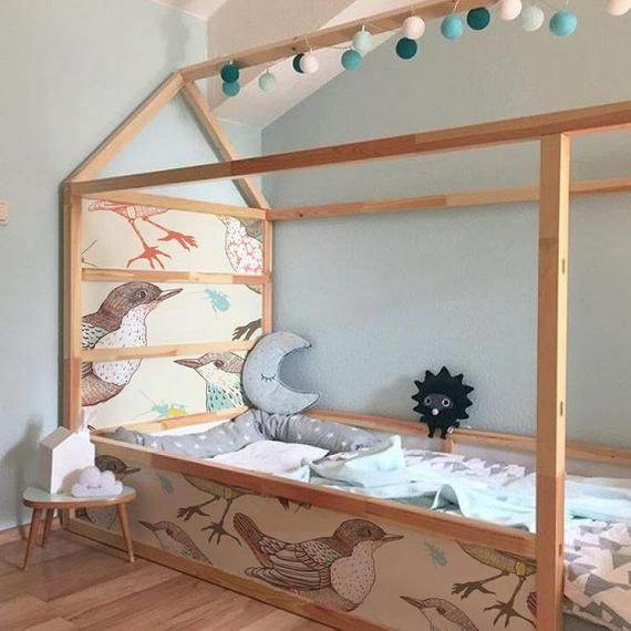 IKEA KURA BED removable stickers colorful birds | Ikea nursery decals | Furniture stickers | Furniture decals set | Kids decor | K#20 #ikeaideen