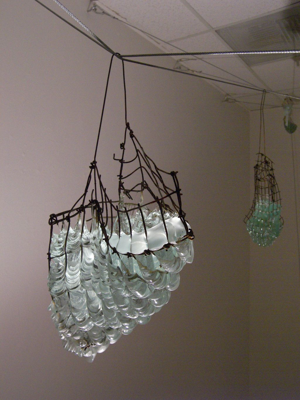 Elissa Batchlay, Untitled, window glass and steel mesh