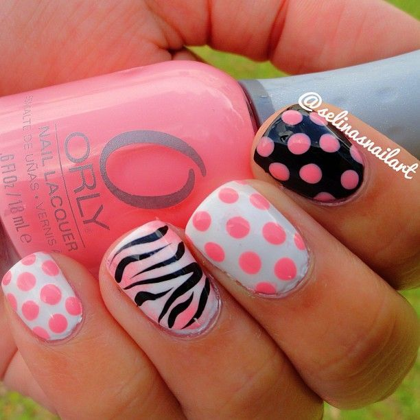 Cute Easy Pink Polka Dot Nails With Zebra Design | Nails & Lacquer