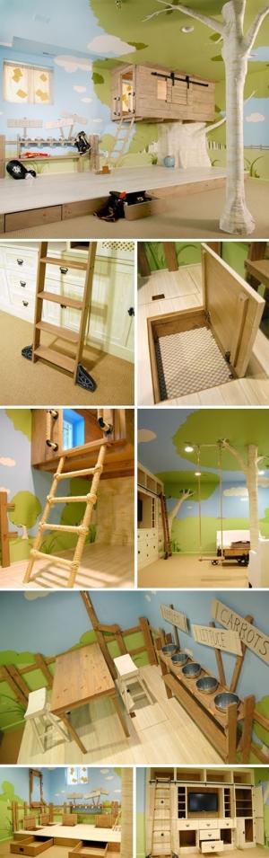 Treehouse bedroom children 39 s church pinterest for Treehouse kids room