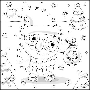 Connect the Dots and Coloring Page with Christmas Owl, Commercial ...