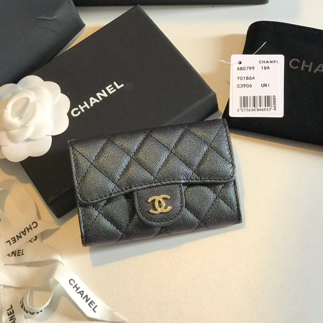 Chanel cc woman card holder mini pocket leather wallet