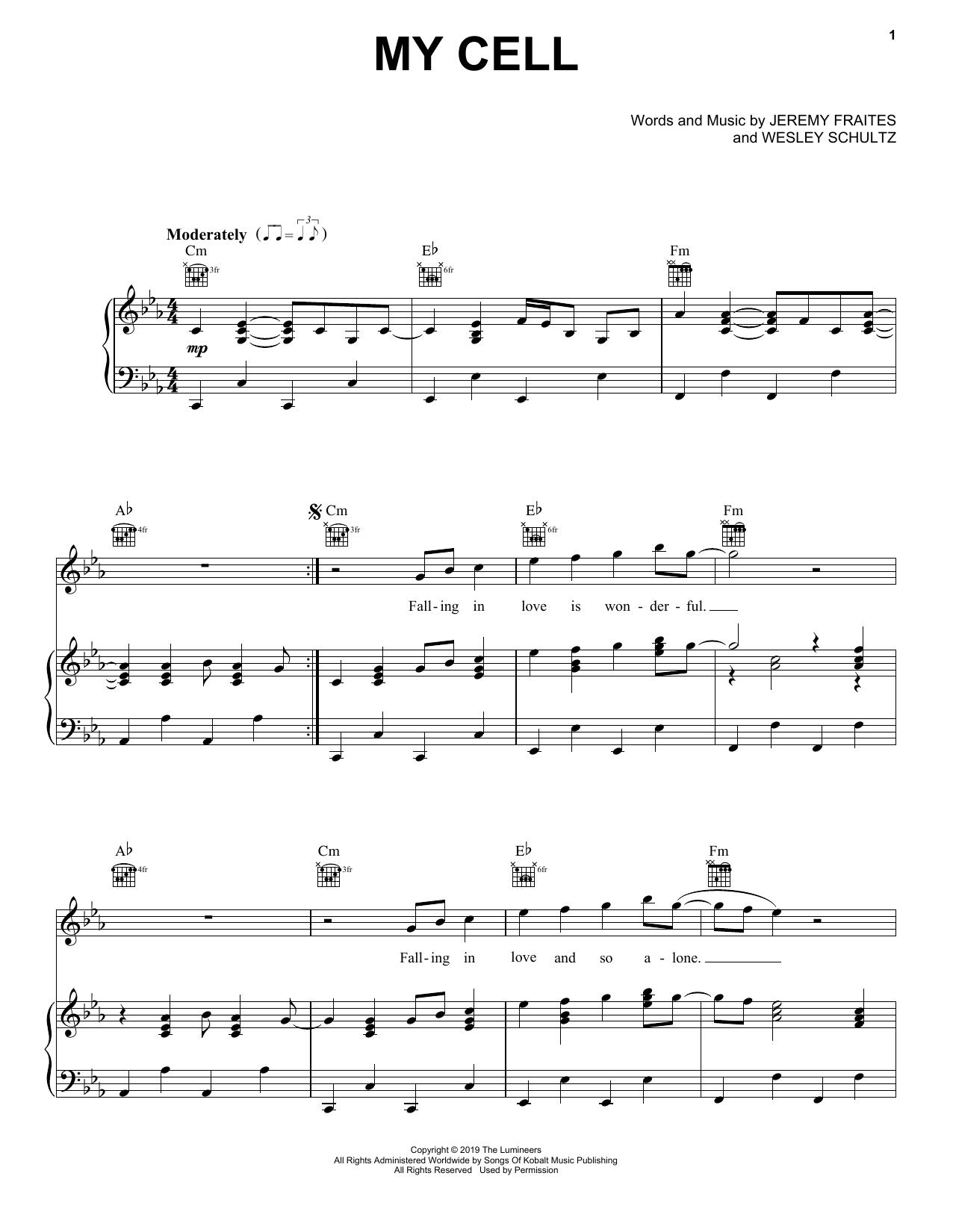 The Lumineers My Cell 432708 Sheet music, Pop sheet