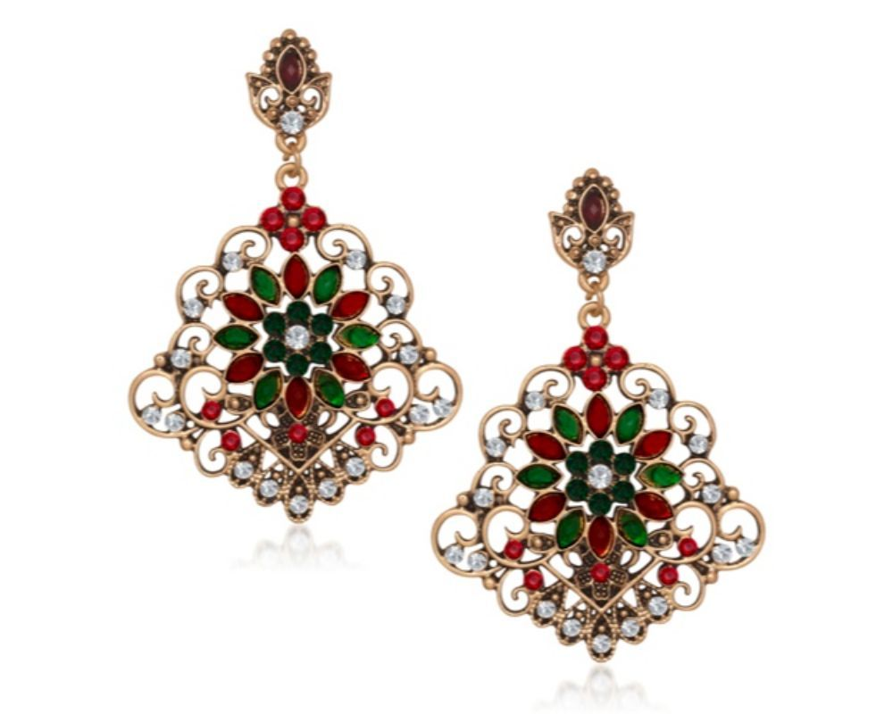 Pin by affordbuy on earrings pinterest antique gold red green