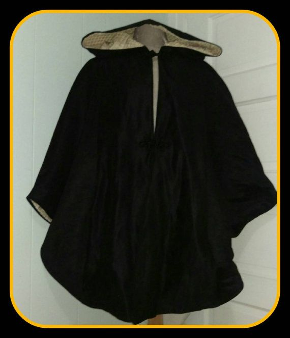 Check out this item in my Etsy shop https://www.etsy.com/listing/251076200/black-faux-suede-lined-hooded-cape-with