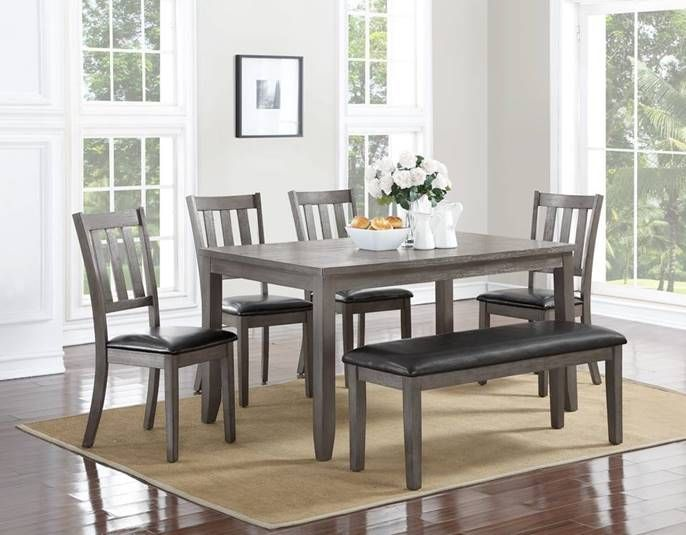 6 pc Cosgrove collection grey finish wood dining table set with chairs and  bench. Table - 6 Pc Cosgrove Collection Grey Finish Wood Dining Table Set With