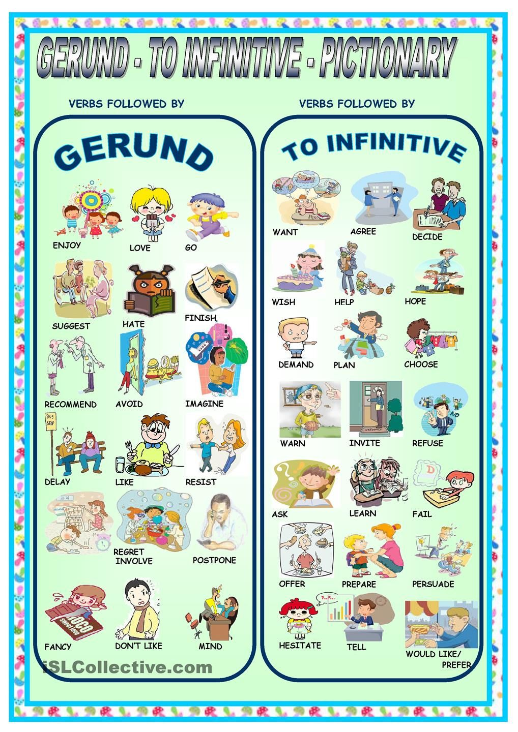 GERUND TO INFINITIVE PICTIONARY ESL Intermediate – Gerund Worksheet
