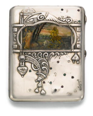 A jewelled silver and pictorial enamel cigarette case, Moscow, 1908-