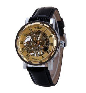 6bbd8b99dcc Relógio Masculino Winner Esqueleto Mecânico Dourado