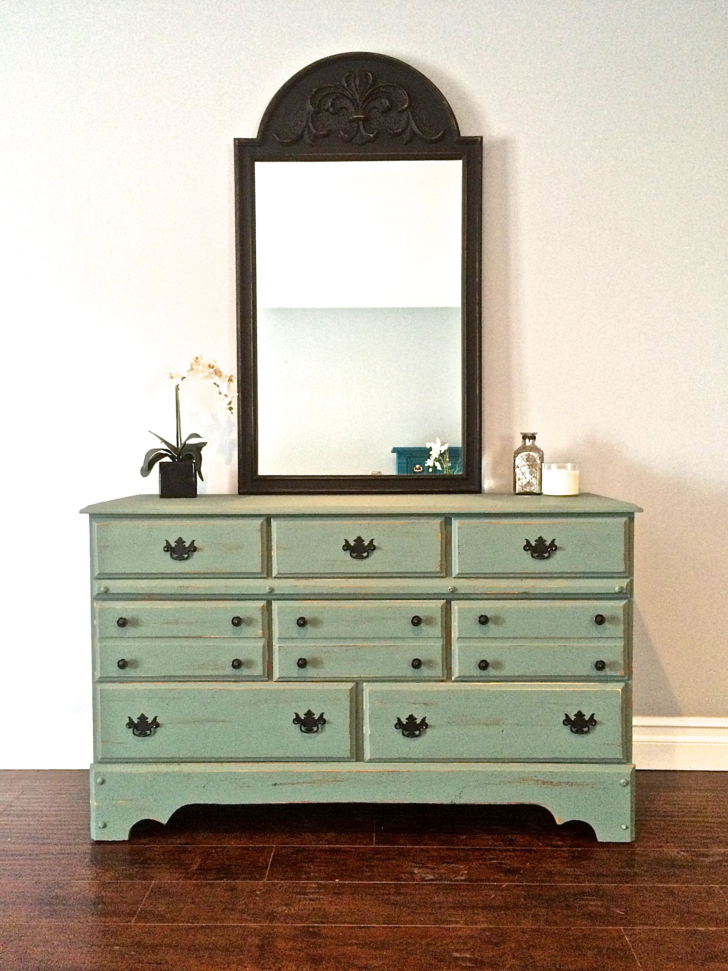 Shabby Chic Green U0026 Black 8 Drawer Dresser + Mirror Set   $400   SOLD