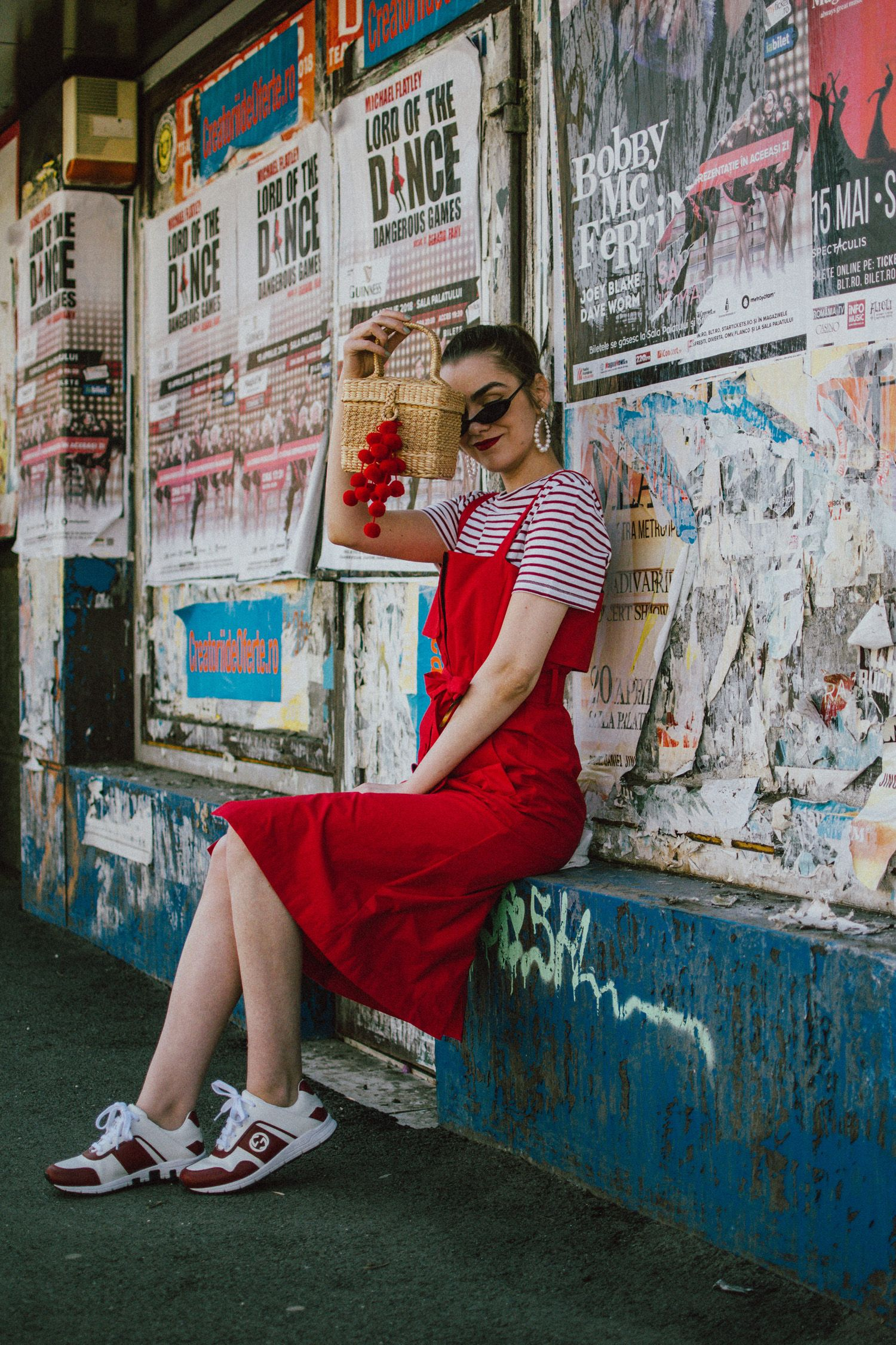 34814f52 How to layer dresses for spring, red dress, zara tshirt, gucci sneakers,  straw bag, micro sunglasses, andreea birsan, couturezilla, cute outfits  2018, ...