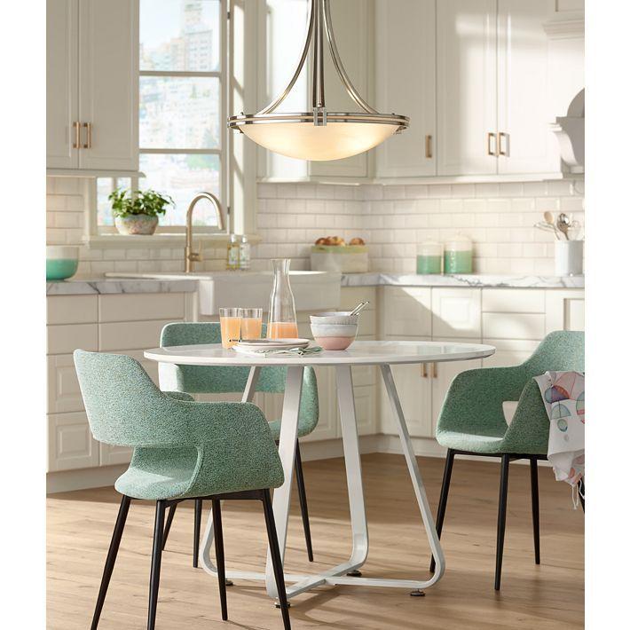 "European Style Kitchen Remodeling Ideas: Possini Euro Design Deco Nickel 21 1/2"" Wide Pendant Light"