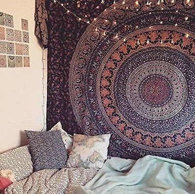 Twin Indian Mandala Tapestry Hippie Wall Hanging Bedspread Dorm Decor Bohemian Bohemian Wall Tapestry Room Inspiration Room Decor