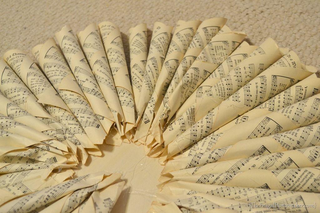 Vintage Music Page Wreath Paper cuts Pinterest Vintage music