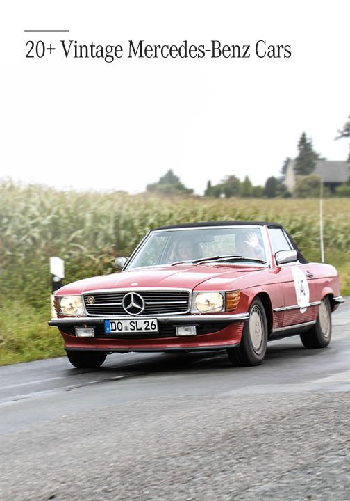 Explore an automotive journey back through time with the Creme 21 'young classics' rally. Click to discover over 20 gorgeous vintage models from Mercedes-Benz—the ultimate in luxury.
