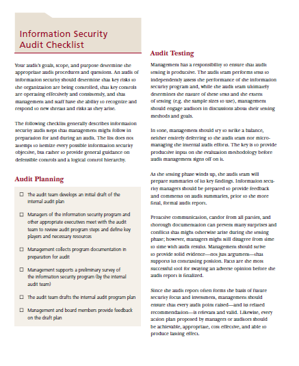 Information Security Audit Checklist Template For Businesses 13