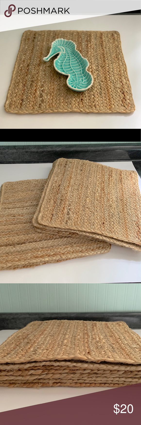 Jute Braid Set Of 8 Woven Square Placemats Square Placemats Woven Clothes Design