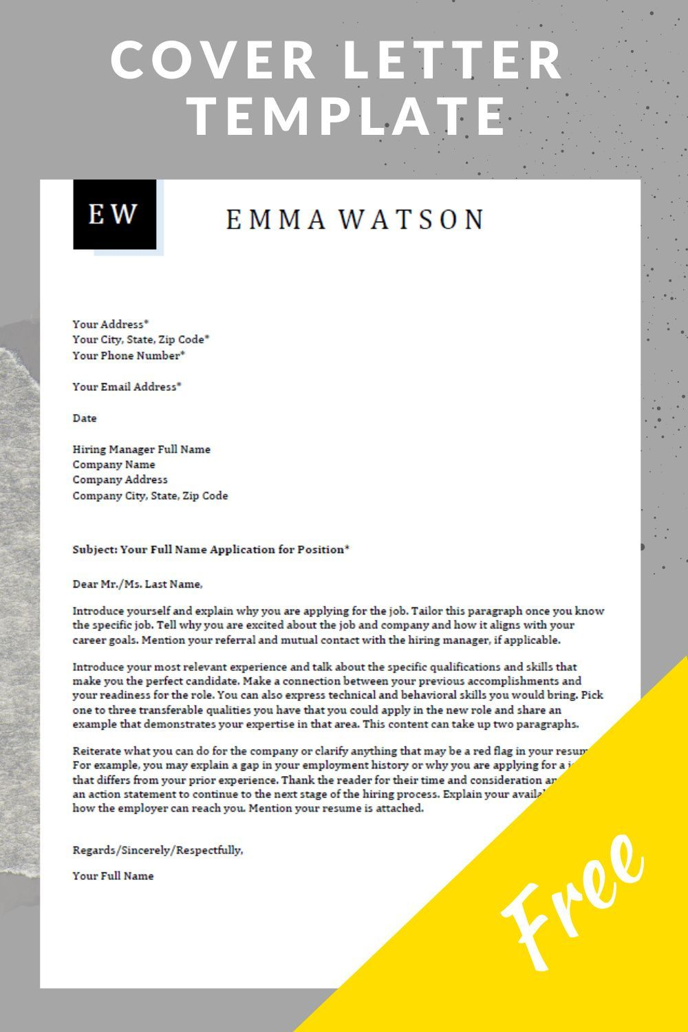 Cover Letter Template Download For Free Job Cover Letter Cover Letter For Resume Cover Letter Template Free cover letter template download
