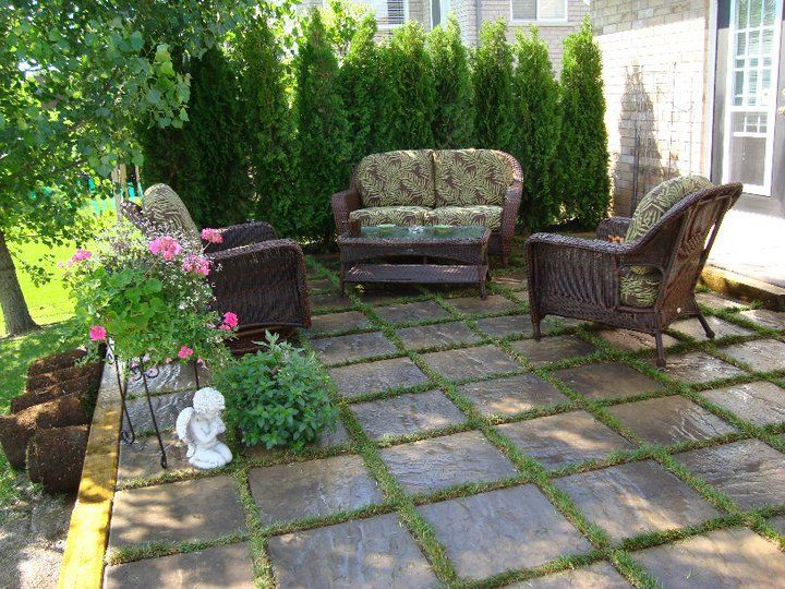 Our patio - concrete tiles laid with grass | Garden ... on Backyard Ideas Concrete And Grass id=67800