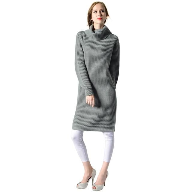 a11f0521e48ae Grey White Women Turtleneck Rib Knitted Casual Basic Sweater Dress Winter  Warm High Neck Thick Long Sweater Solid Jumper - High Street Whistles