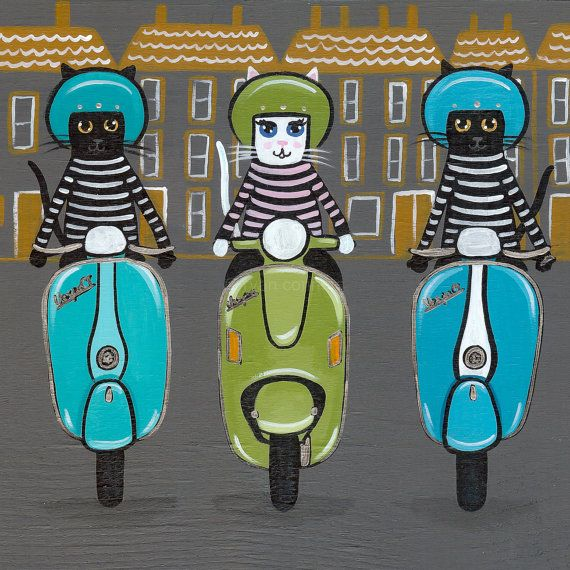Paris Vespa Squad Whimsical Cat Folk Art Print 8 by KilkennycatArt