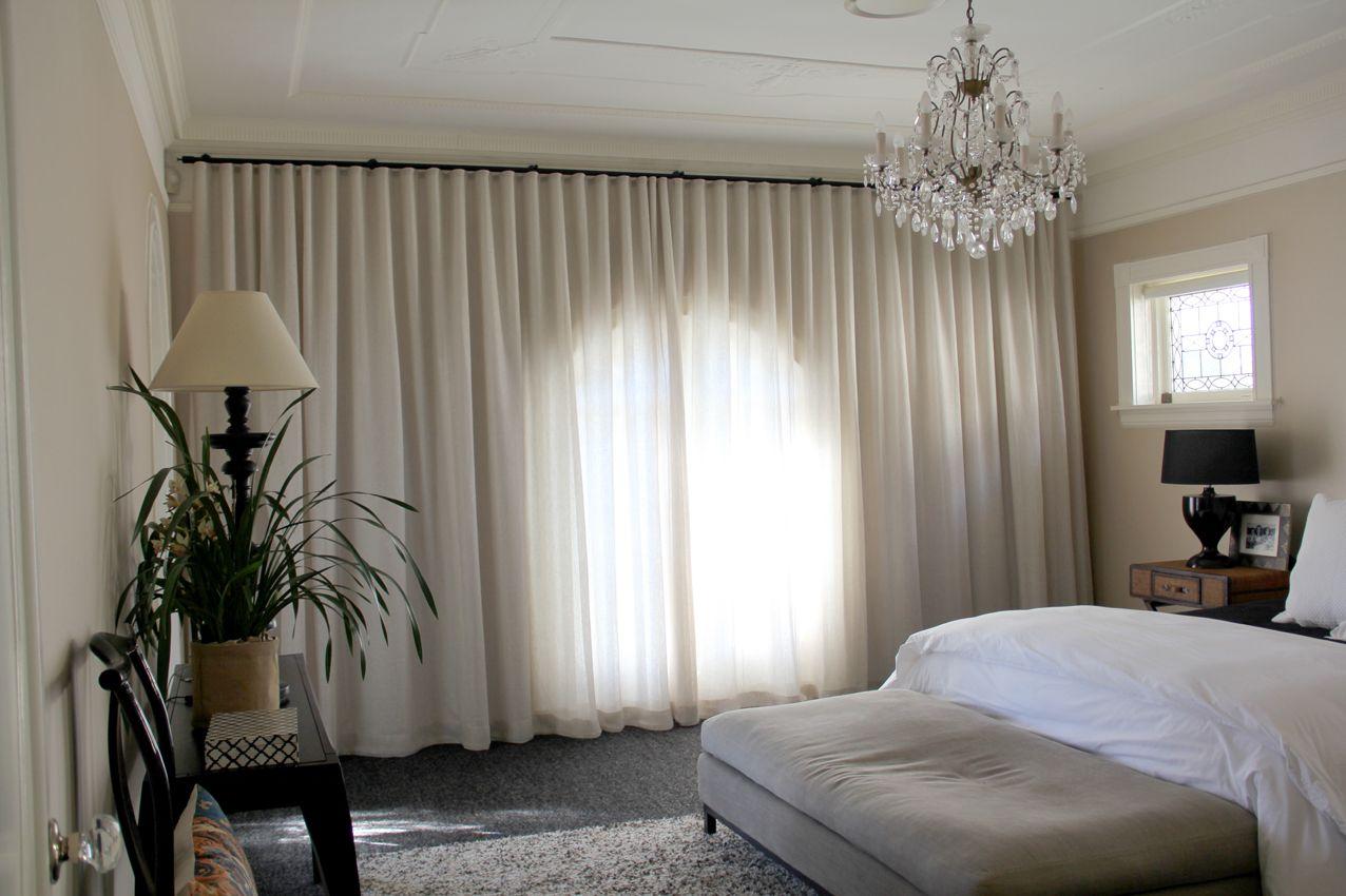curtains full width of wall Curtains, Linen wallpaper