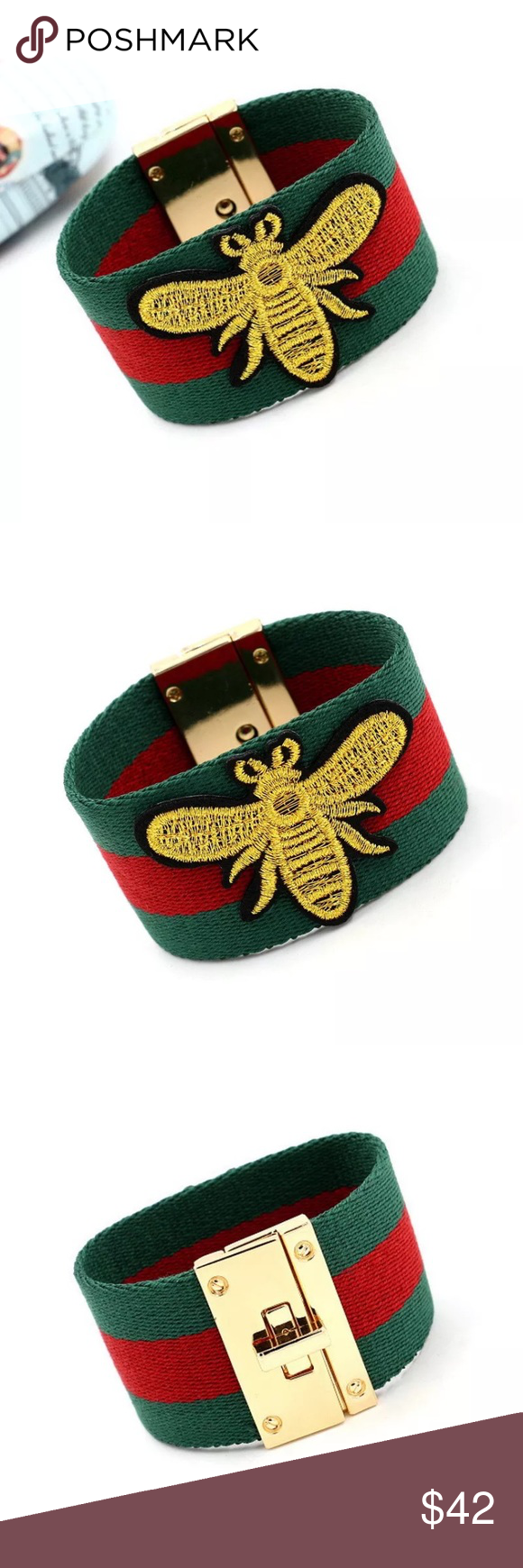caacb1aee GUCCI style bracelet red green stripes gold bee Bundle with other items to  get 15%