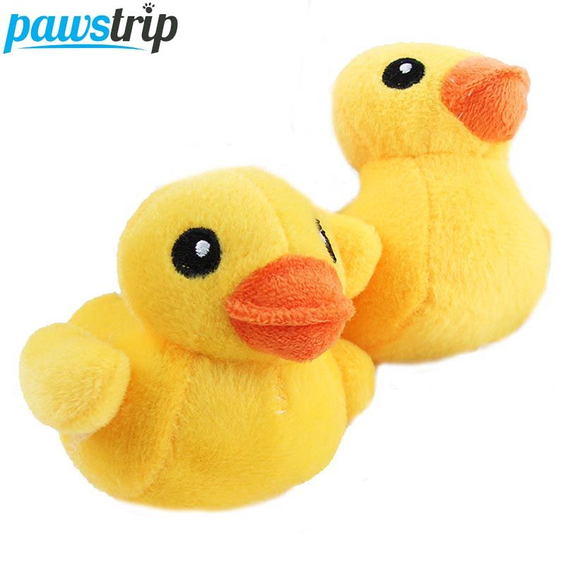 1pc Soft Plush Pet Dog Toys Cute Yellow Duck Squeaky Sound Toys