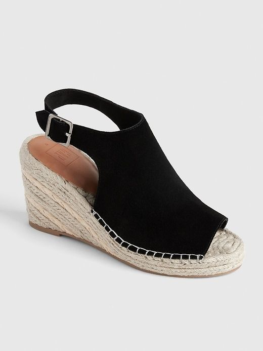 5bac3f721c6 Gap Women's Suede Espadrille Wedges True Black | Products in 2019 ...