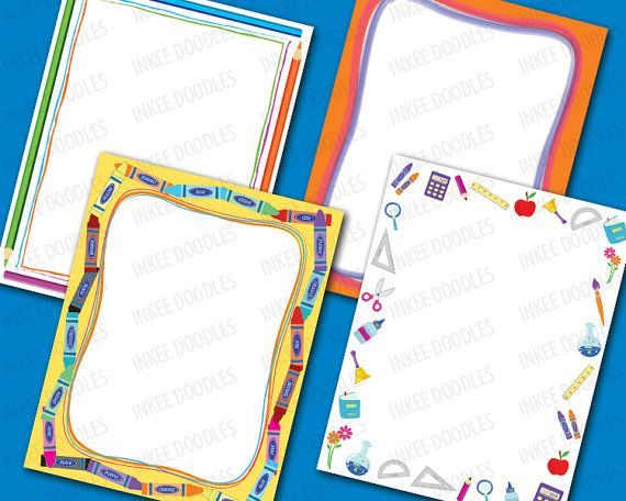 School Kids Clip Art 8x11 Kids Certificate Borders by InkeeDoodles - certificate border word