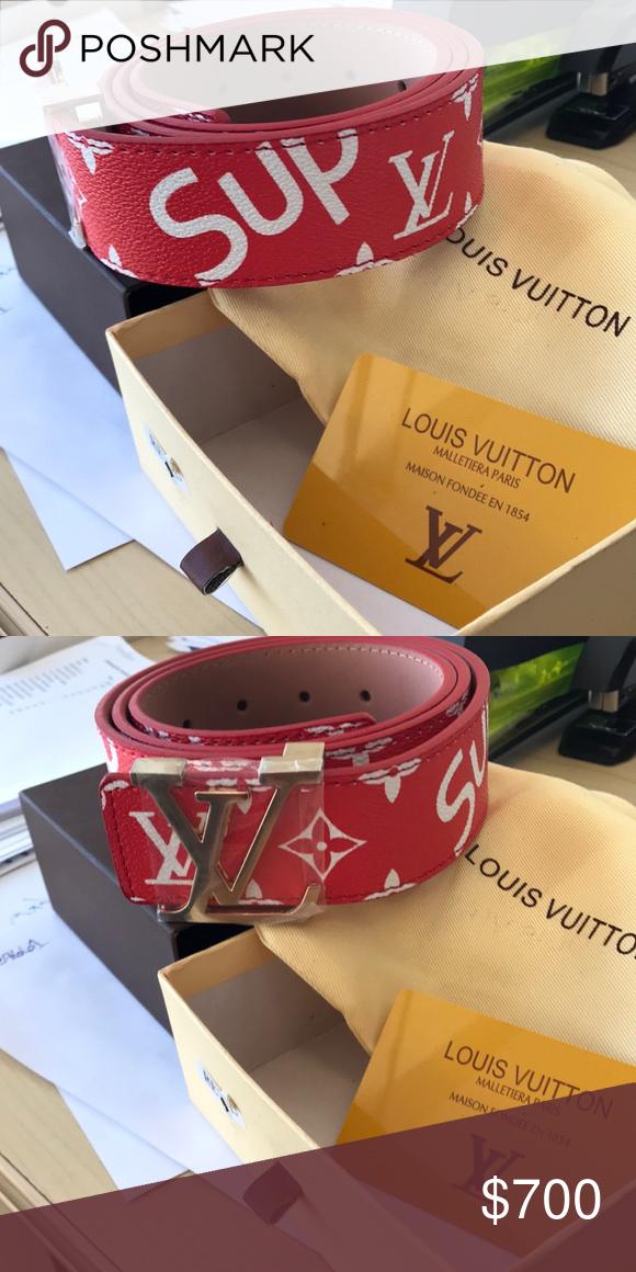 dd2ab4c3d4c4b Red Louis Vuitton Supreme Belt Red Louis Vuitton supreme belt in box comes  with card of authenticity Supreme Accessories Belts