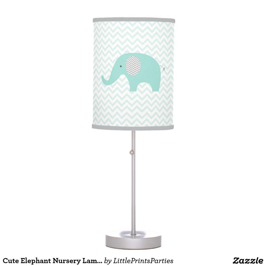 Cute Elephant Nursery Lamp Mint Green & Grey | Lamps | Pinterest