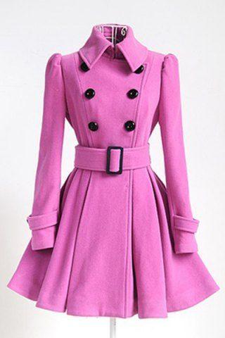 50d87250d475 Women s Chic Belt Long Sleeve Pink Winter Coat