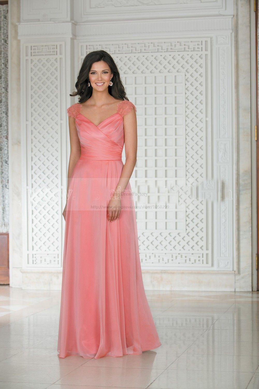 Design Lace Shoulders Elegant Chiffon Long Coral Bridesmaid Dresses ...