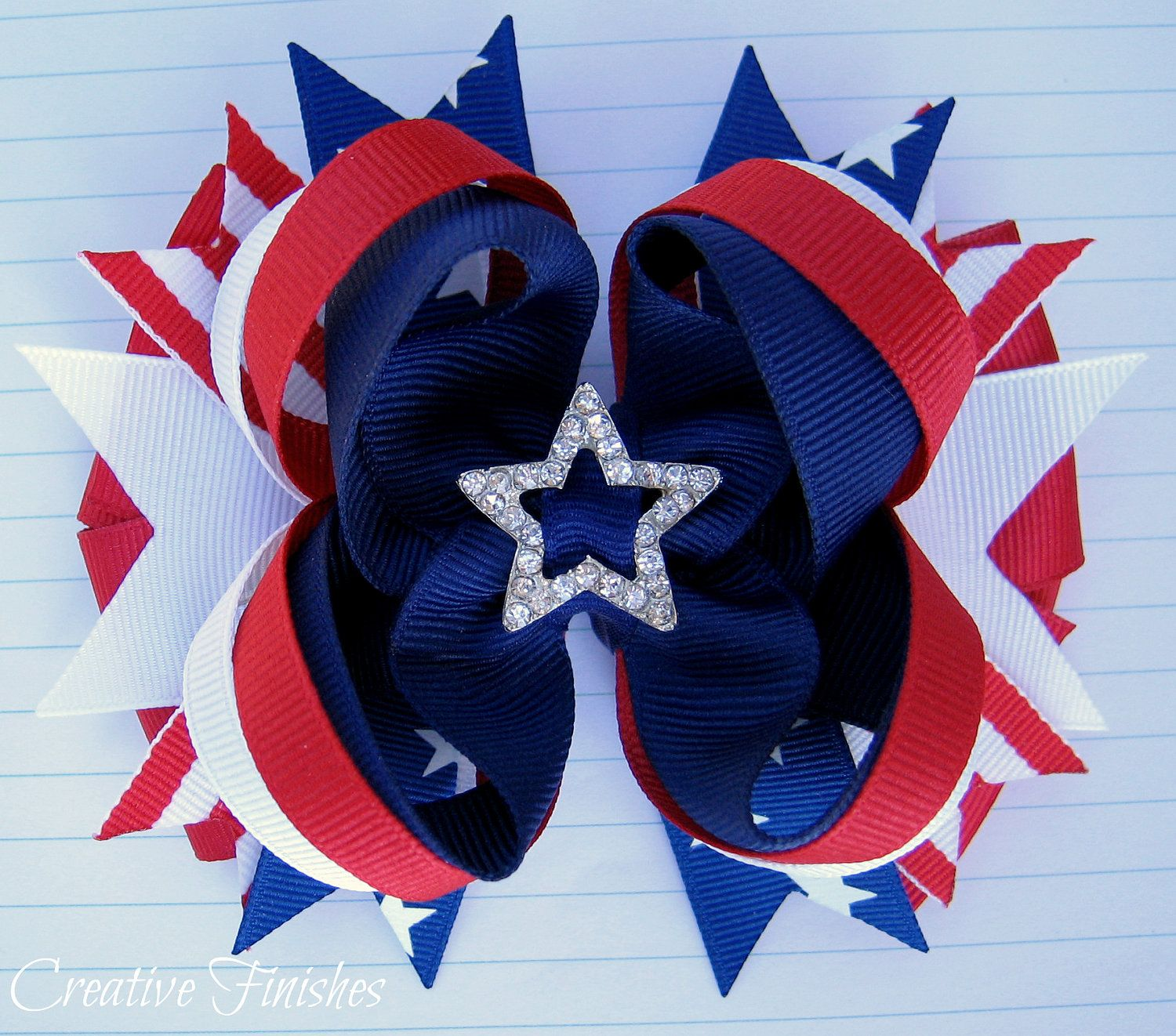 July Fourth Bow Red White and Blue Bow Patriotic Hair Bow Fourth
