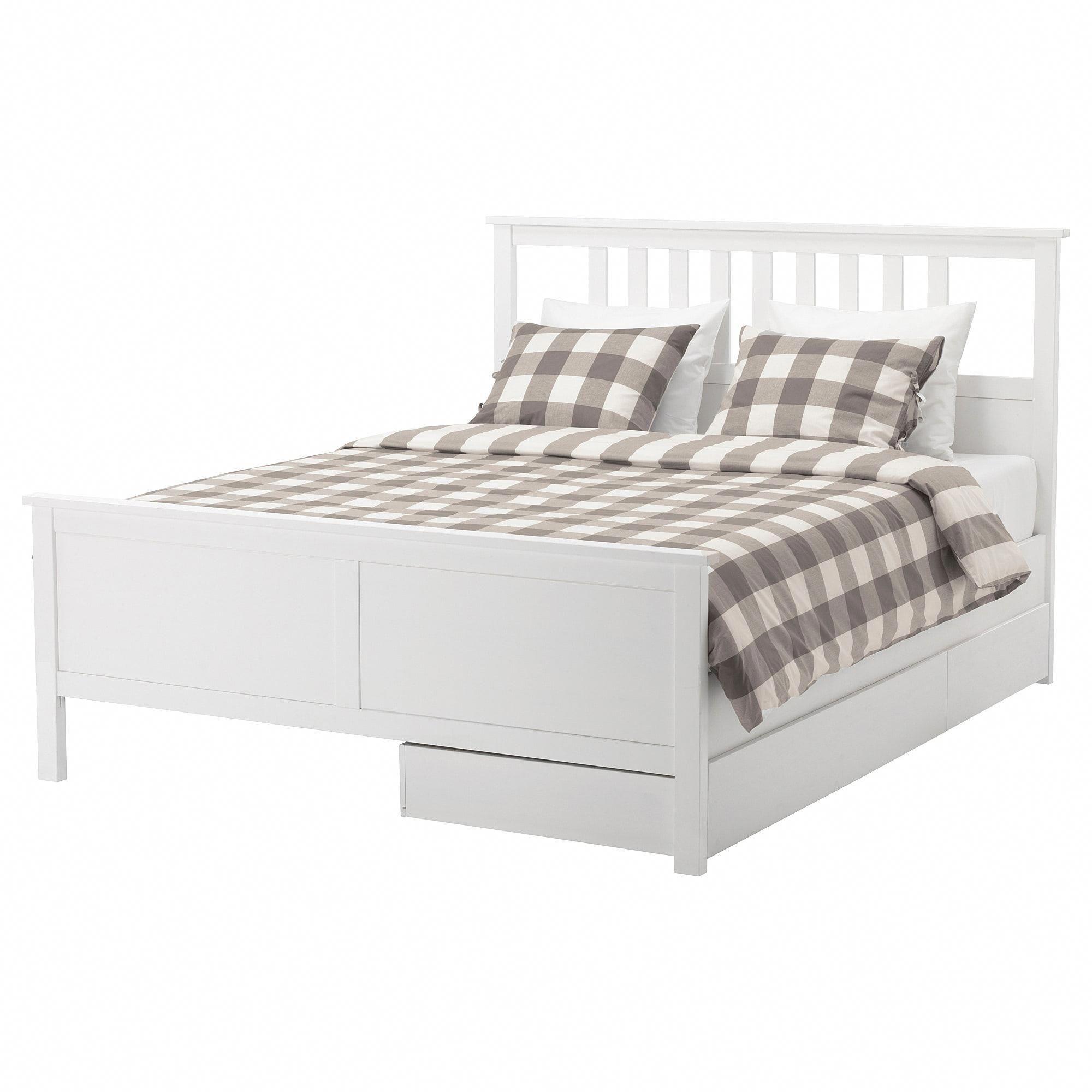 IKEA HEMNES White Stain, Leirsund Bed frame with 2 storage