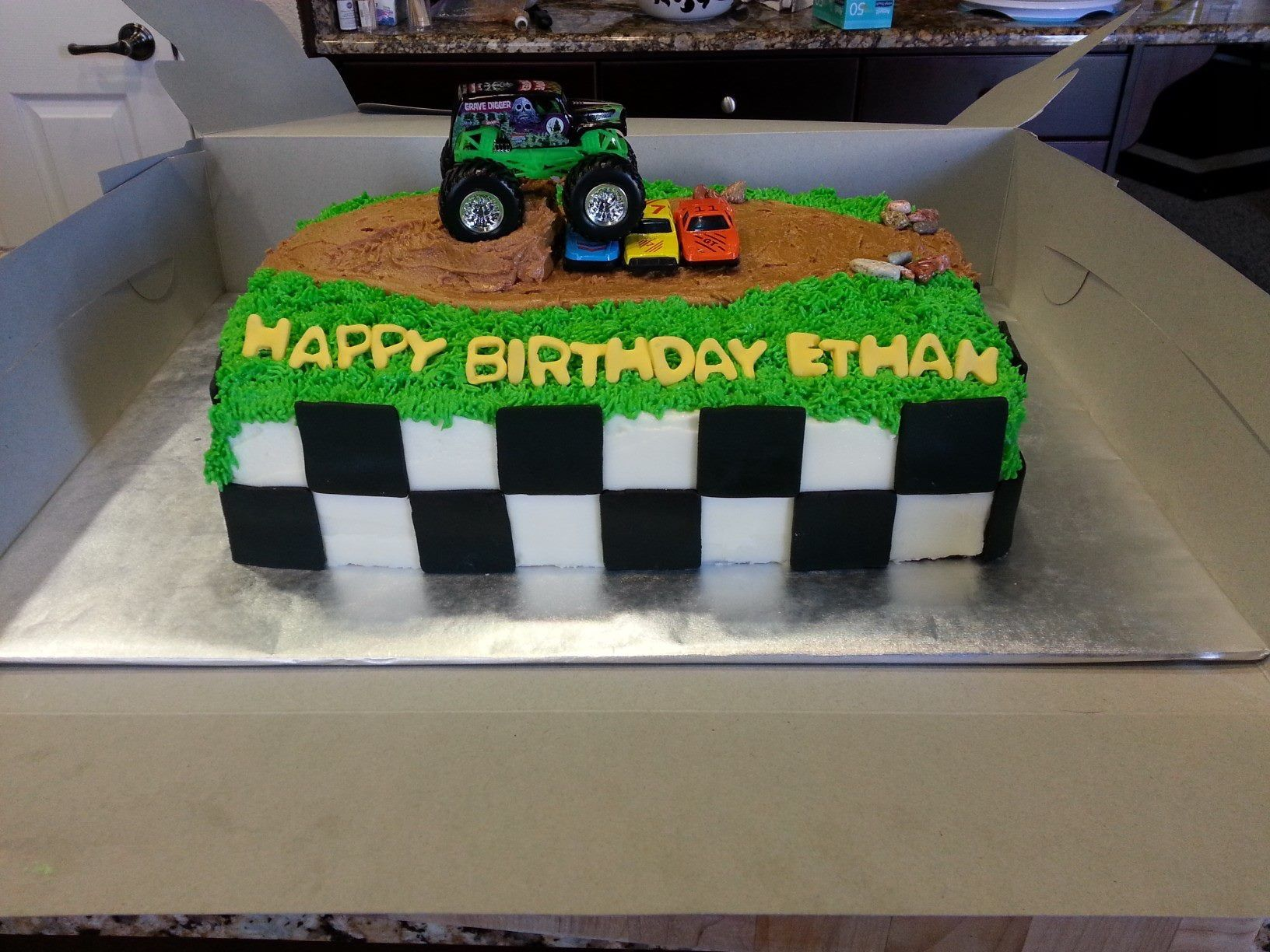 Monster Truck Birthday Cake Made out of cream cheese frosting and