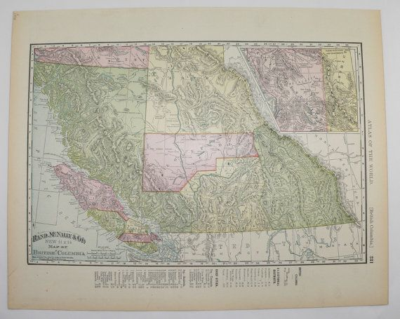 antique map british columbia map vintage bc canada map 1898 vintage travel map office decor