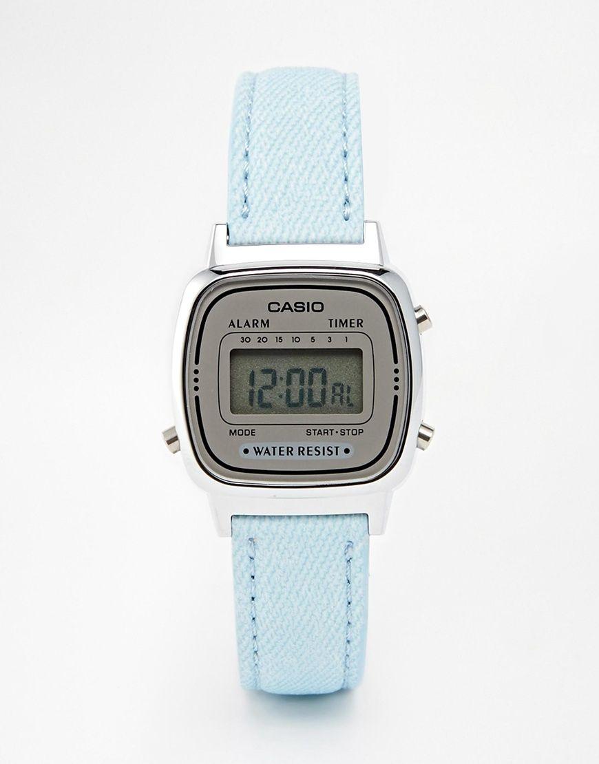 9ec695dac3cf Reloj digital pequeño de cuero en azul pastel LA670WEL-2AEF de Casio ...