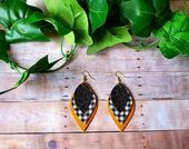 Photo of White Buffalo Plaid Petal Earrings – Faux Leather Leaf Dangles – Black Glitter -… – Stylebekleidung.com