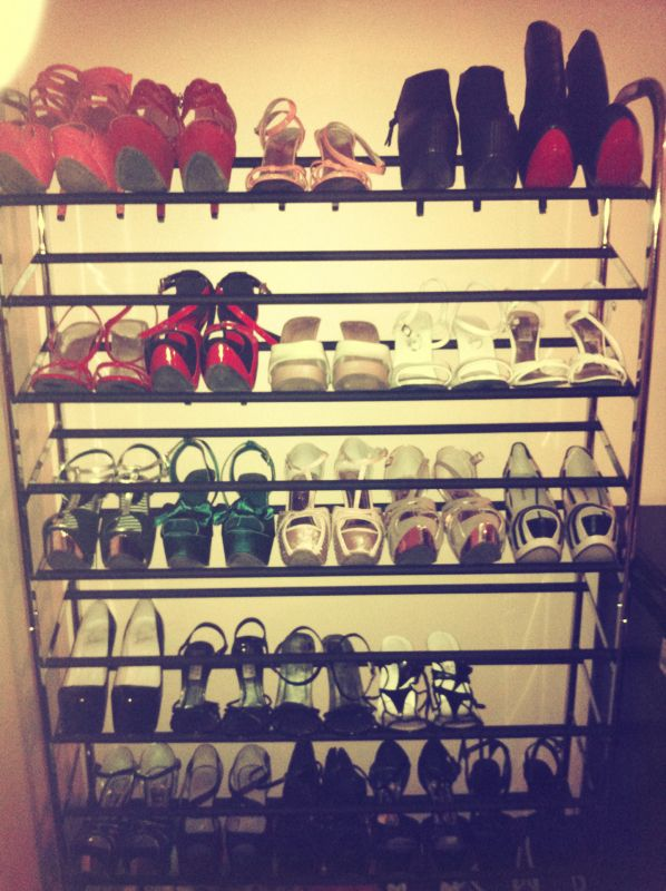 High heel shoe rack #shoes #highheels #carrielachance