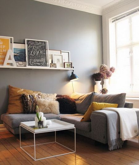 Grey Wall/grey Sofa + Yellow U003d VK Identity Applied In Interior.