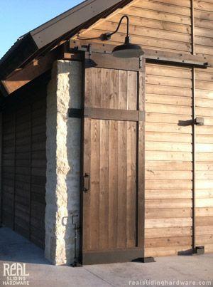 Stone Pavilion Outdoor Bathroom Sliding Door