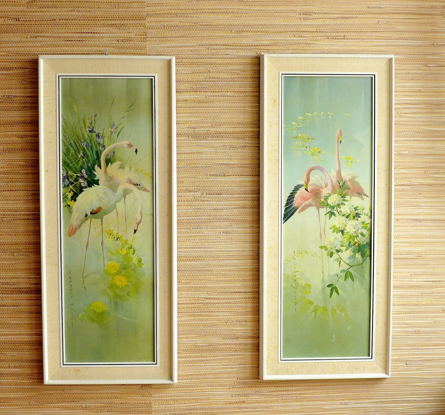 Flamingo Picture Wooden Frame Wall Art - Teak Brass - Wall Hanging ...