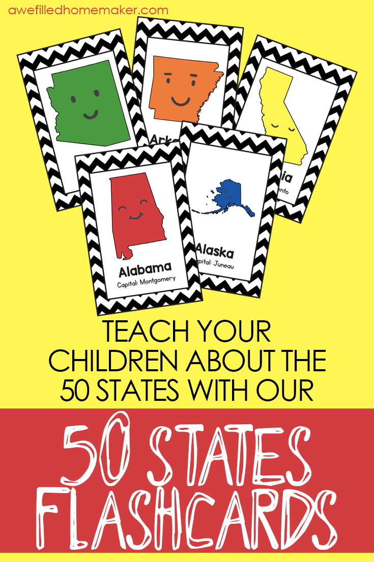 photo about 50 States Flash Cards Printable titled 50 Claims Flash Playing cards (with Capitols) Printables and