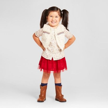 Toddler Girls' Furry Vest and Skirt Outfit - Genuine Kids from Oshkosh™ : Target