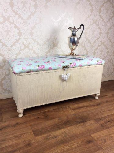 Shabby Chic Ottoman Lloyd Loom Storage Box Cabinet Blanket
