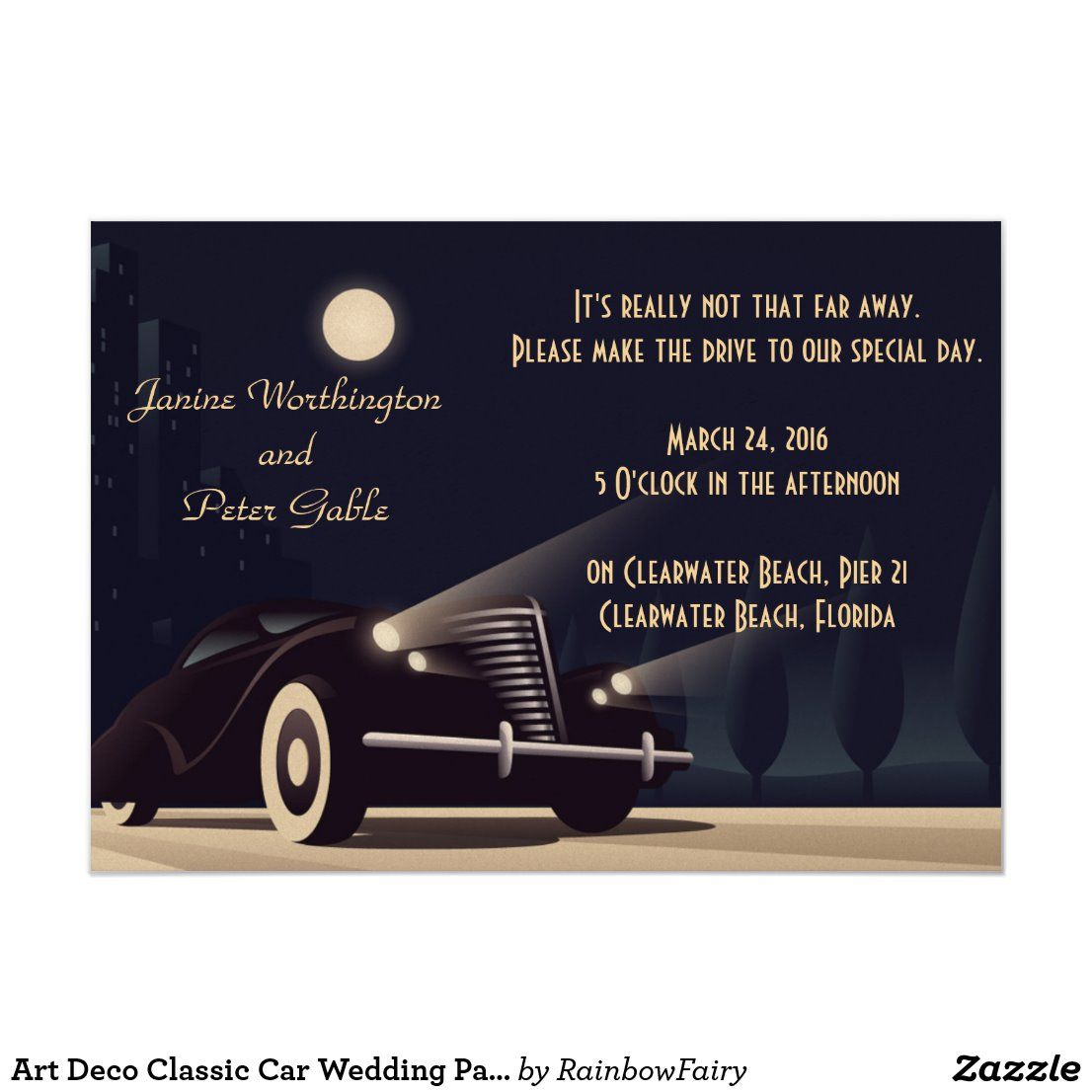 Art Deco Classic Car Wedding Party Invitation | Zazzle.com